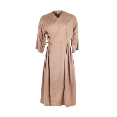 wrap midi dress brown